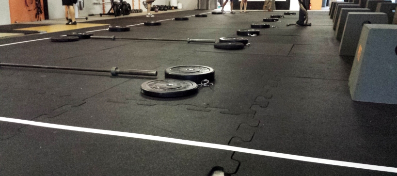 Weights and barbells for deadlifts..lots of fun setting this up!